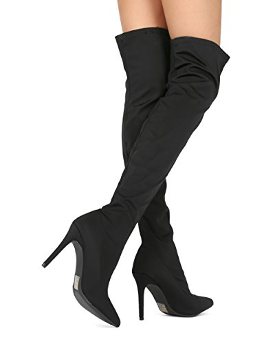Alrisco Women Stretchy Over The Knee Thigh High Pointy Toe Stiletto Boot - HF00 by Wild Diva Collection Black Lycra HjBtg2