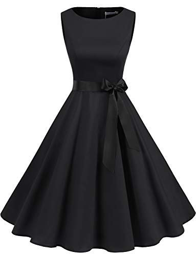 Petite Little Black Dress - Gardenwed Women's Audrey Hepburn Rockabilly Vintage Dress 1950s Retro Cocktail Swing Party Dress Black L