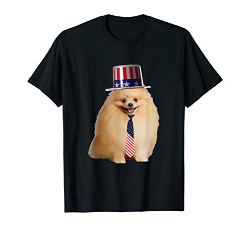 (Pomeranian 4th Of July Dog In Top Hat and Tie T-Shirt)