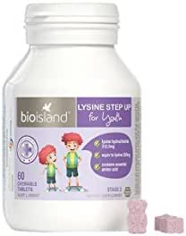 Bio Island Lysine Step Up for Youth 60 Chewable Tablets new pack product of Australia