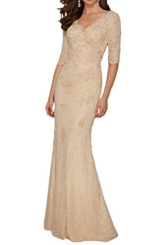 PearlBridal Women's V Neck Lace Mermaid Mother of The Bride Dresses Half Sleeve Long Evening Gowns Champagne Size 14
