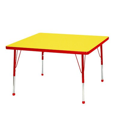 "UPC 663789169513, Creative Colors M24SQRD-TB Activity Table, Ball Glides, Toddler Height, 24"" Square, Maple Top, Red Edge"