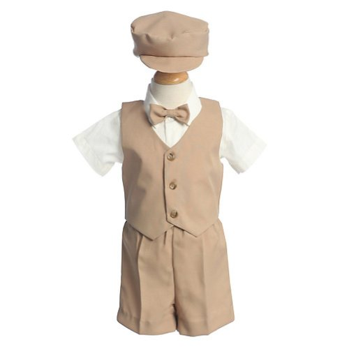 Lito Baby Boys Khaki Vest Short Hat Easter Ring Bearer Suit 6-12M (Jumper Bodice Cotton)