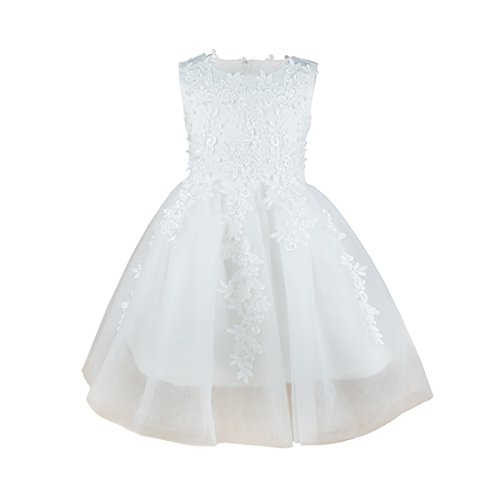 Girls Princess Flower Lace Dress Wedding Party White Gown Bridesmaid Tulle Skirt  White  6 (Flower Wedding Dress)