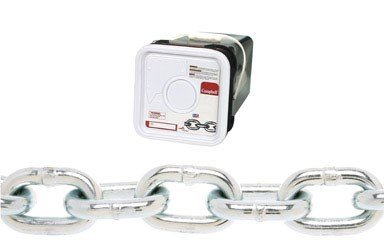 Campbell 0143526 System 3 Grade 30 Low Carbon Steel Proof Coil Chain in Square Pail, Zinc Plated, 5/16'' Trade, 0.31'' Diameter, 75' Length, 1900 lbs Load Capacity by Apex Tool Group