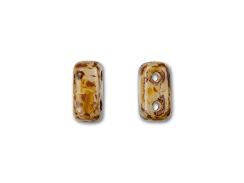 Brick Picasso - CzechMates Glass 3x6mm Opaque Light Beige with Picasso 2-Hole Brick Bead (50pc Pack)