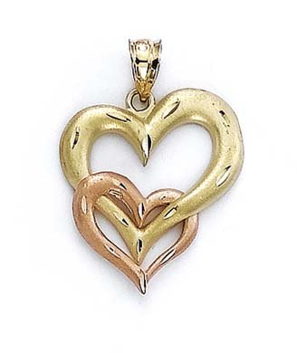 14 carats-Bicolore-Inter-Attache pendentif coeur JewelryWeb