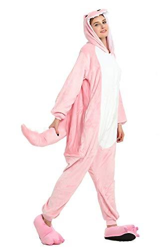 Unisex Adult Flannel Unicorn Animal Pajamas Cosplay Onepiece Costume Jumpsuit Pink,L