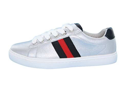 Product image of HOO Girls, Boys (Little Kid/Big Kid) Side Stripe Leather Fashion Sneakers, Silver Metallic/Rose Gold