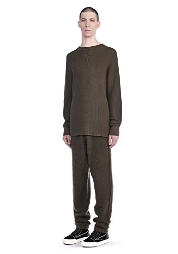 T by Alexander Wang New $230 Army Green Waffle Knit Thermal Sweater Shirt SZ L