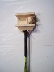Natural Wood Full Size Baseball Bat Rack Display 4 Baseballs Holder Wall Mount by Baseballrack
