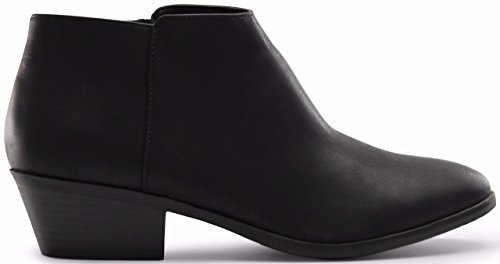 Marco Republic Madrid Womens Medium Low Heels Ankle Booties Boots - (Black PU) - 8