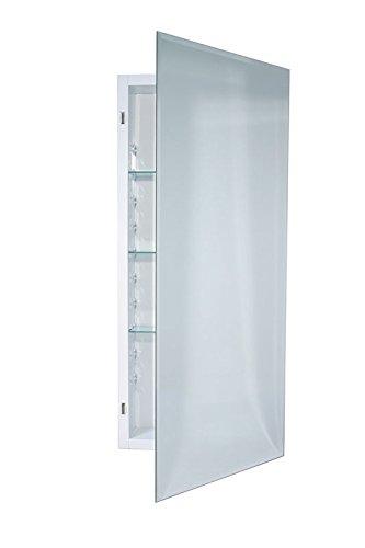 Jensen 868P34WHGX Bevel Mirror Medicine Cabinet, 16'' x 36''