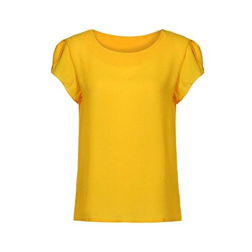 (MODOQO Women Summer Short Sleeve Blouse O Neck Chiffon Solid Tops Clothes T Shirt)