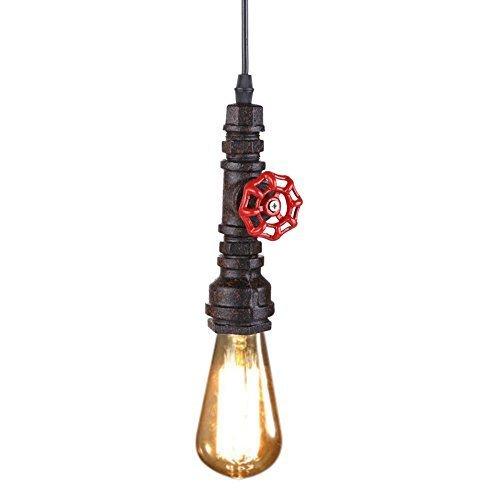 Fuloon E27 Retro Deckenlampe Loft DIY 60W Industrie Eisen Rohr Fabriklampe Deckenleuchte Industrielampe Edisonlampe Pendelleuchte ( Ohne Birne ) (Rost-Farbe)