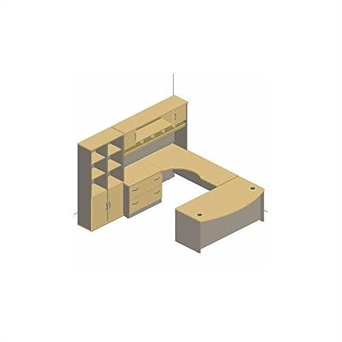 Bush Furniture Light Oak Corsa Series U-Shaped Corner Desk with Hutch