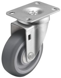 5'' x 1-1/4'' Swivel Delrin Bearing TPR Gray/Gray Wheel Steel Zinc Caster