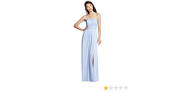 a65f087e1f213 Mesh and Lace Long Strapless Bridesmaid Dress Style F18095 at Amazon ...