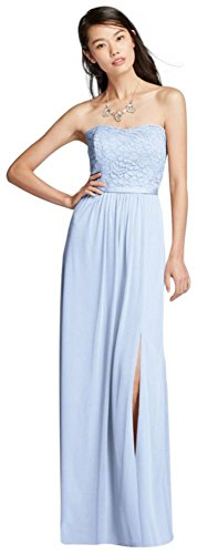 David's Bridal Lace and Mesh Long Strapless Bridesmaid Dress Style F18095, Ice Blue, 4