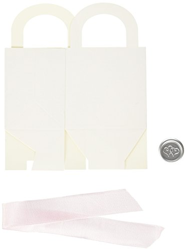 Gartner Studios Wedding Favor Boxes, White with Pink Ribb...