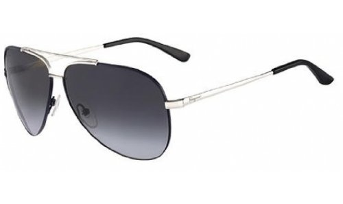 Salvatore Ferragamo Sunglasses SF131S 030 Palladium W Blue Enamel 60 10 - Ferragamo Aviator Sunglasses