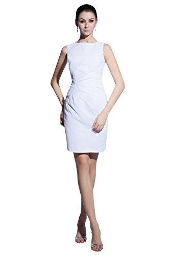 Women's Cocktail Short Scoop Dress White Sheath Party Dasior Sexy Chiffon gCdqgZw
