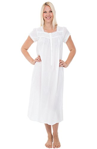 Alexander Del Rossa Womens 100% Cotton Lawn Nightgown, Cap Sleeve Sleep Dress, Small White (A0585WHTSM)]()