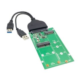 Cablecc USB 3.0 to SATA 22pin 2.5 Hard Disk to 2 in 1 Combo Mini PCI- E 2 Lane M.2 NGFF & mSATA SSD Adapter Converter (Best Way To Migrate To Ssd)