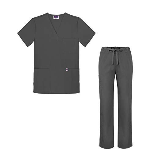 Sivvan Medical Uniform Scrub Set - V-Neck Scrub Top Drawstring Scrub Pants Unisex fit