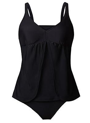 EVALESS Women's Colorblock Two Piece Tankini Top with Bikini Bottom Swimsuit Set