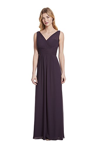 - Samantha Paige V-Neck Illusion Pleated A-Line Chiffon Formal Dress,Plum,6