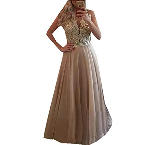 Half Flower Bridal 2018 A-line Evening Dress Champagne Prom Dresses Women's Chiffon Appliqué Party Dresses Beaded Homecoming Gown
