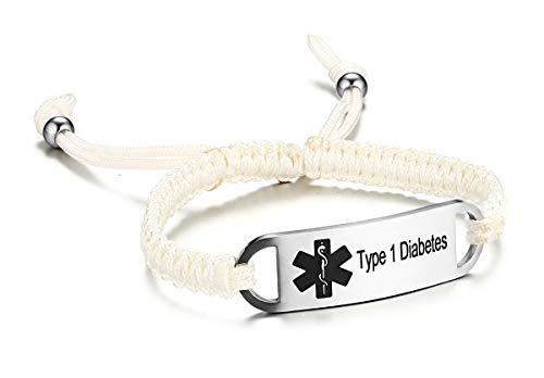 JF.JEWELRY Type 1 Diabetes Medical Alert ID Bracelet for Kids White Nylon Rope Braid Bracelet Adjustable 6-8 inches