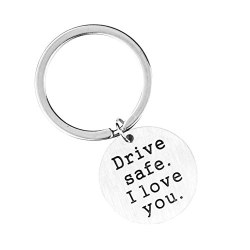 Drive Safe I Love You Round Pendant Key Chain Stainless Steel Hanging Keyring - Silver