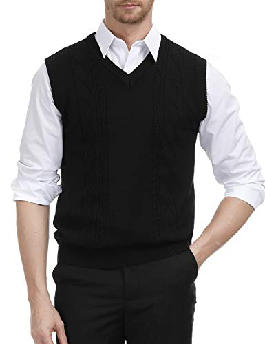 Argyle Golf Vest - Mens Classic Slim Fit Sweater Vest V-Neck Golf Vest Argyle Print (XL,Black)