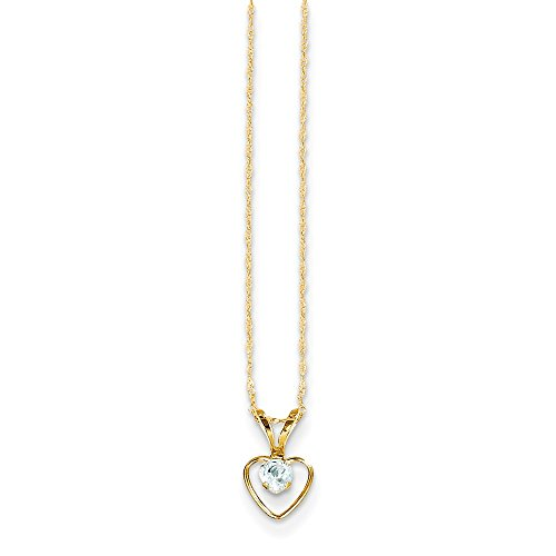 - 14k Yellow Gold 3mm Blue Aquamarine Heart Birthstone Chain Necklace Pendant Charm Kid Fine Jewelry Gifts For Women For Her