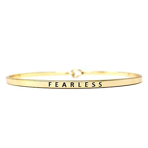 Me Plus Inspirational FEARLESS Positive Message Engraved Thin Bangle Hook Bracelet