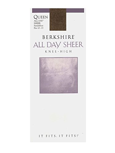 us-Size Queen All Day Sheer Knee Highs - Sandalfoot Toe, French Coffee, 10-13 (Knee High Lightweight Stockings)
