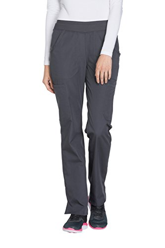 Cherokee Brown Leather - Cherokee Women's Size Mid Rise Straight Leg Pull-on Cargo Pant, Black, Medium Tall