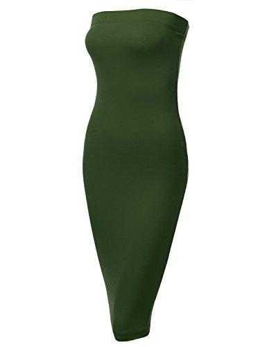 (DRESSIS Womens Strapless Midi Bodycon Stretchy Tube Dress OLIVE M)