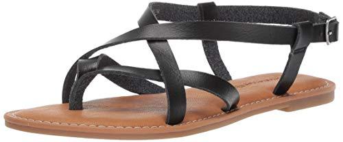 Amazon Essentials Women's Casual Strappy Sandal, Black, 8 B US