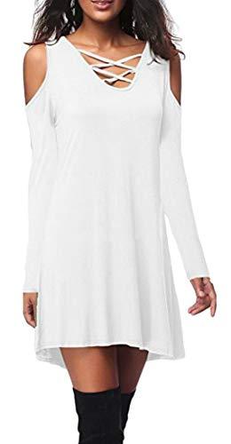 Domple Des Femmes De Dentelle Solide Tops Robe Épaule Froide Chemise À Manches Longues Blanc Jusqu'à