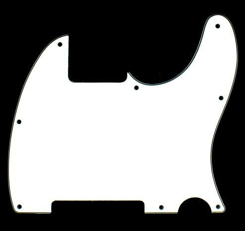 A77 3 Ply Guitar Pickguard Fits Tele Esquire Style WHITE