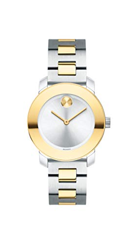 Movado Women's BOLD Iconic Metal Two Tone Watch with Flat Dot Sunray Dial, Gold/Silver ()