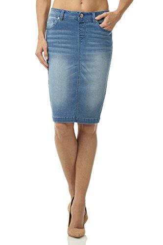 Stretch Denim Straight Skirt - 5