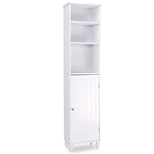 Wood Storage Bath Cabinet - Giantex Storage Cabinet Free Standing Tower Shelf Bath Cabinet Home Kitchen, Living Room, Bathroom Storage Cabinet Wood Adjustable Shelves and Cabinet, White