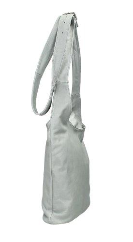 IO.IO.MIO Borsetta per le Icone® Ital. Croix Sac à Bandoulière pour Femme en Cuir Nappa avec Choix de Couleur 24,5x 28x 28x 8,5cm (W x H x D) - Light Gray