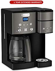 Cuisinart SS-15 12-Cup Coffee Maker and Single-Serve Brewer, Black Stainless with Extended Warranty