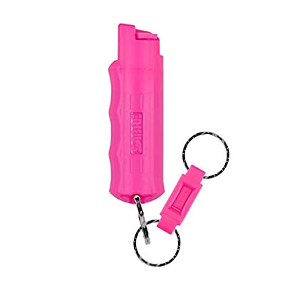 SABRE RED Pink Pepper Spray Keychain for Women with Quick Release for Easy Access, Maximum Police Strength OC Spray, Finger Grip for Accuracy, 10-Foot Range with 25 Bursts, Helps Fight Breast Cancer