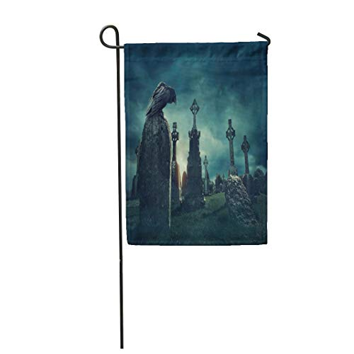 Semtomn Garden Flag 28x40 Inches Print On Two Side Polyester Blue Horror Spooky Old Graveyard and Bird at Night Green Scary Home Yard Farm Fade Resistant Outdoor House Decor Flag ()